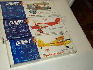 3 Vintage Comet Balsa wood Curtis Robin SPAD Porterfield 3101 3105 3106