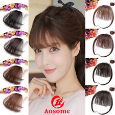 Womens wavy human hair clip in extensions ebay 100 real human hair thin neat air bangs clip in korean fringe front hairpiece pmusecretfo Choice Image
