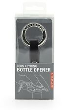 Kikkerland Coin Keyring Bottle Opener Handy Steel & Leather Black Useful Gift