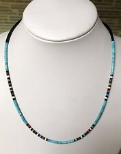 Santo Domingo Turquoise Coral Heishi Sterling Necklace - Dorene Calabaza 19""