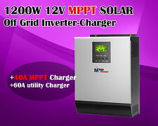 new!  12v 1200w mppt Solar inverter pure sine wave + 40A mppt solar charger