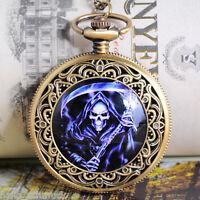 HS 1 Schädel Taschenuhr Quarz Ketteuhr Halskette Uhren 75.5cm Bronzefarben