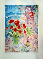 """Rare Signed Marc Chagall """"Red Lovers"""" Lithograph 38'X26' inch amazing painting"""