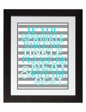 If You Sprinkle Bathroom Rules Wall Art Print poster Gray turquoise aqua stripes