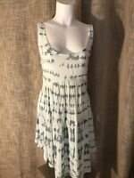 BLUE LIFE White & Dusty Blue Sleeveless Dress Size Small