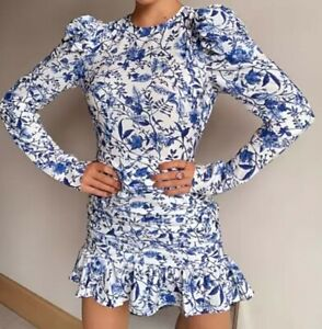 Ladies In The Style Blue & White Lorna Luxe Frilly Backless Dress. Size 8. BNWOT