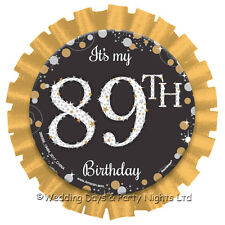 Age 1- 99 Its My Birthday Rosette Badge Black Gold 18th 21st 30th 40th 50th etc