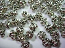 50 6 mm Round Fluted Spacer Beads Silver Tone