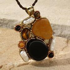 New Tara Mesa Golden Jasper, Tiger's Eye, Onyx & Biwa Pearl Patchwork Pendant