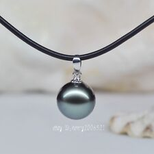 beautiful big 14 mm black southsea shell pearl pendant +chain 18 inch