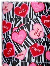 1.5 Funky Zebra Valentine Candy Hearts Grosgrain Ribbon 4 Hairbow Bow Sale 10Yd
