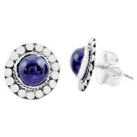 925 Sterling Silver 5.22cts Natural Purple Amethyst Stud Earrings Jewelry P74652
