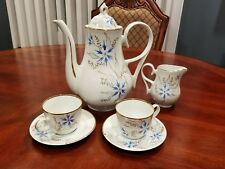 Vintage European Extra Fine Porcelain Teapot, 2 Cups and Saucers, and Creamer