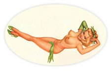 "Pin up pinup pin-up sexy retro girl oval green shoes sticker decal 5"" X 3"""