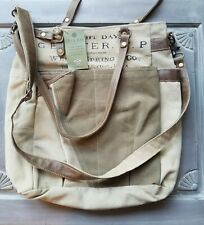 Clea Ray Large Welch Spring & Co Leather & Canvas Tote Bag