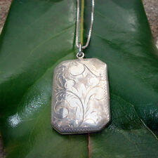 """Necklace - Sterling silver locket and box chain necklace - stamped 925 - 24"""""""