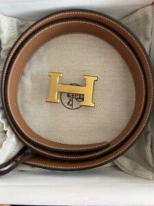 Hermes Men/Women Belt 32mm Wide/Size 95/38 Inches Long/ Gold Buckle/ Brown Black