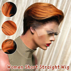 Cosplay Women African Natural Short Straight Hair Wig Lady  Party Full Wigs