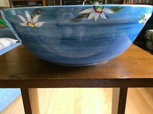 """Zrike 12"""" Blue Hand Painted Serving Bowl  Yellow with Fruit Flowers"""