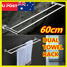 60cm Stainless Rust Proofing Double Towel Rail Rack Holder Bathroom Wall Mounted