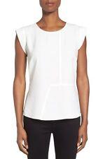 Women's Pleione Seam Detail Peplum Top Size Large Ivory Short Cap Sleeve 9847
