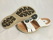 Earth Shoe Papaya White Slides Sandals Slip On Leather Women's Hook Loop Size 6B