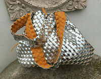 Wendetasche Leder Optik geflochten Schultertasche Tagesbegleiter Ocker o Silber