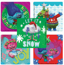 "25 Trolls Christmas Stickers, Assorted 2.5""x2.5"" each, Party Favors"