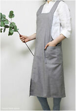 Natural Fabric Simple & Modern Light Weight Apron with Pockets Daily Apron- Grey