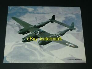 Lockheed P-38 Lightning USAF Aircraft in Flight Color Promo Photo Picture Print
