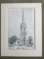"1858 - ""Multun Church, Lincolnshire"" (All Saints, Moulton) - original litho"