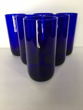 LIBBEY COBALT CLUE METROPOLITAN COOLER GLASSES SET OF 6 HIGHBALL TALL TUMBLERS