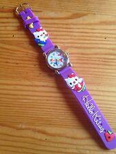 Reloj de Pulsera niños Niñas Hello Kitty Púrpura Analógico De Acero Correa De Silicona Nuevo