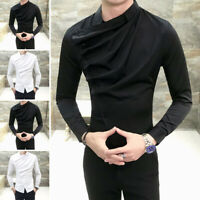 Men Gothic Steampunk Shirt Top Long Sleeve Formal Party Clubwear Blouse Tee Tops