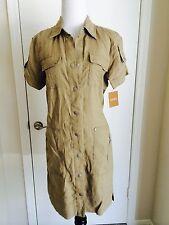 """NEW $120 """"Ellen Tracy"""" Safari/ Military Beige/Sand/Flax Linen Dress Size XS"""