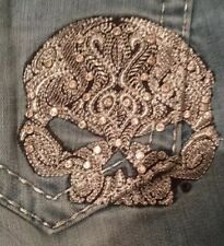 NWT Harley Davidson Jeans Bootcut 6 Crystals Low Rise Embroidered Silver Skull