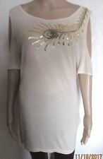 NWT SIZE 10 IVORY SEQUIN TUNIC STYLE COLD SHOULDER TOP ROCK REVIVAL