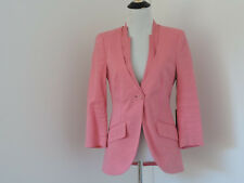 NWT BEBE LUXE SUITING 3/4 SLEEVE JACKET w/GROSSGRAIN LINEN BLEND ONE BUTTON SZ 4