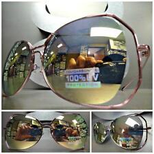 OVERSIZE CLASSIC VINTAGE RETRO Style SUN GLASSES Pink Chrome Frame Mirror Lens