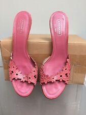 COACH Carissa Sz 8.5 B Pink Flower Cutout Leather Slide Kitten Heel Sandals