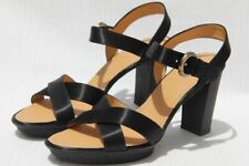 Hogan by TOD'S Block Crossed Bands Black Satin Open Toe Pumps Shoes US 11 / 41