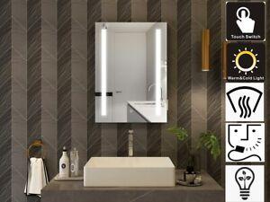500x700mm LED bathroom mirror demister shaver socket anti-fog sensor vertical