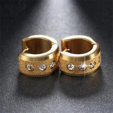 Hoop Stainless Steel Earrings Punk Scrub Round Cubic Zircon Ear Stud Jewelry 1