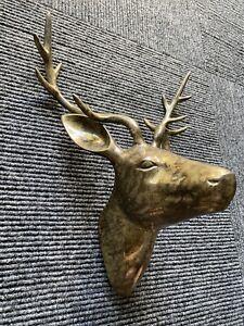 Bronze Deer Head Wall Sculpture Antlers