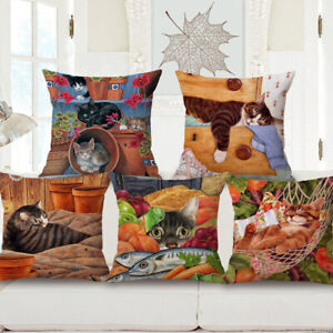 18'' Fashion Lazy Cat Cotton Linen Pillow Case Sofa Cushion Cover Home Decor