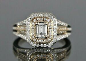 Amoro CEI 14K Rose Gold GIA Emerald Round Diamond Double Halo Engagement Ring