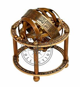 Antique Brass Armillary Sphere Astrolabe Maritime Nautical Collectible Globe