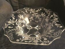 GORGEOUS ELEGANT CAMBRIDGE 4-FOOTED 12 INCH #3400/4 ELAINE ETCHED BOWL EXCELLENT