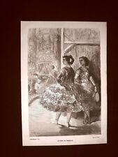 Incisione di Gustave Dorè del 1874 Moda e costume Il ballo del Fandango Spagna