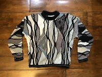 Vintage Coogi Sweater Mens Size Medium Multi Color White Grey 1990s Nice Fashion